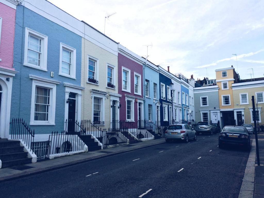 Ok But First Coffee colorful houses in London Notting Hill Chelsea