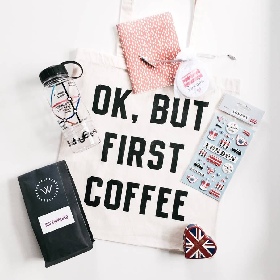 ok but first coffee give away london travel kit