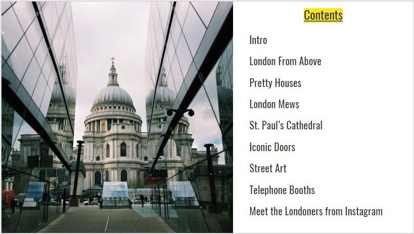 London Photo Guide Contents
